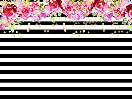 Qian photography backdrops black and white stripe background pink rose flower birthday party wedding photo studio