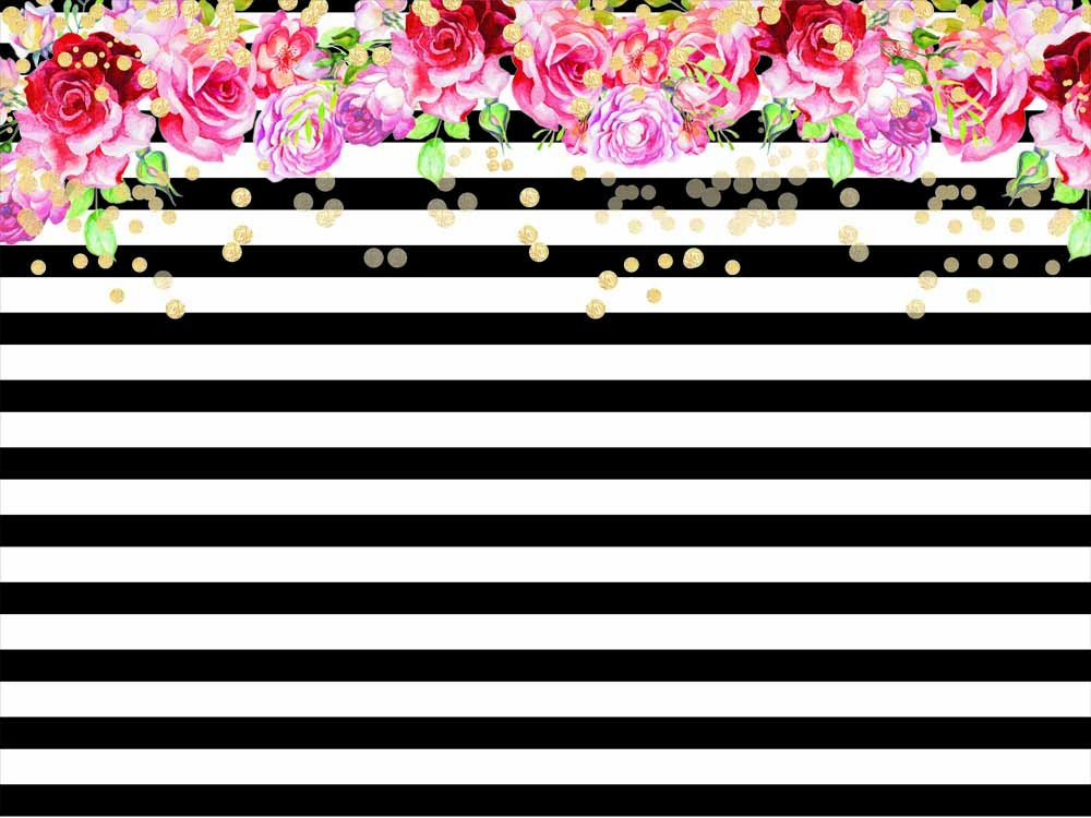 Qian Photography Backdrops Black and White Stripe Background Pink Rose Flower Birthday Party Wedding Photo Studio Booth 7X5FT 012 by Qian