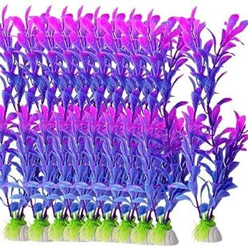 DealMux 10 piezas de pescado tanque azul púrpura de plástico Hojas bajo el agua de la planta del ornamento 8.6 para acuario: Amazon.es: Productos para ...
