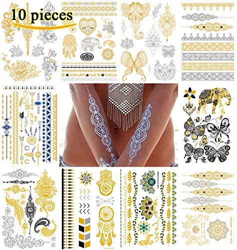 Le Fu Li (10 Sheets) Temporary, Metallic, Henna Body Tattoos, Gold & Silver Flash Tattoo Sheets, Over 100 Unique Designs