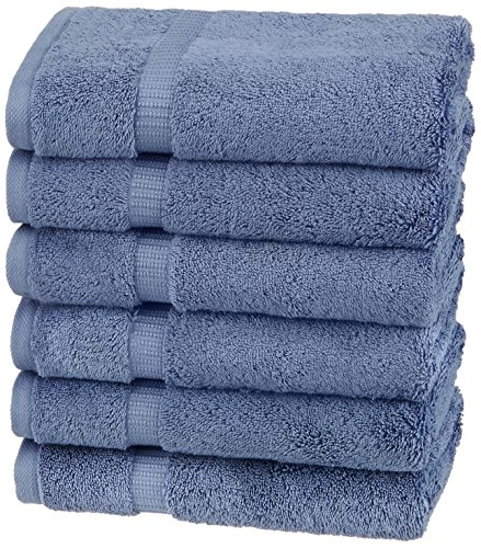 Pinzon Organic Cotton Hand Towels, Set of 6, Indigo Blue