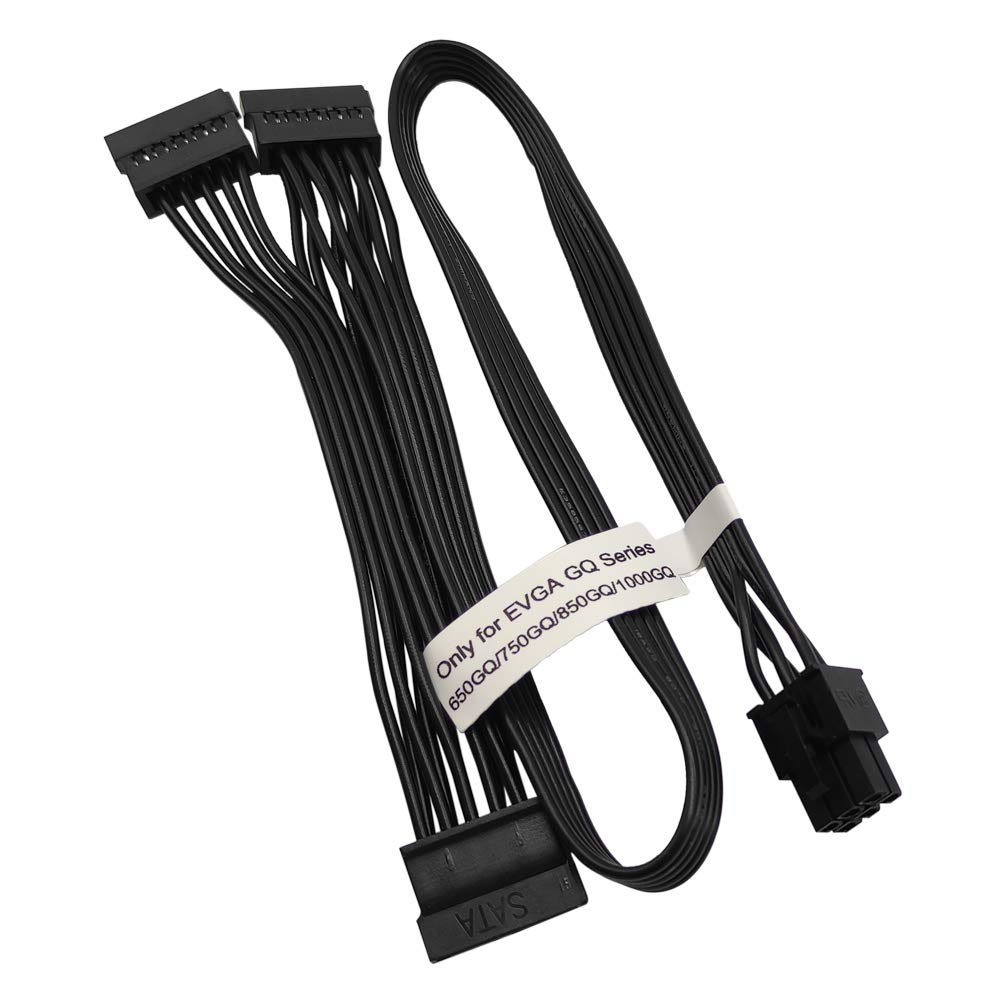 COMeap 6 Pin to 3X 15 Pin SATA Hard Drive HDD Power Adapter Cable Only for EVGA GQ Series Semi Modular PSUs 20-in(50cm)