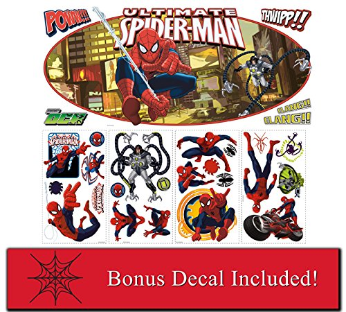 Marvel Comics Ultimate Spiderman Headboard Giant Decal and Wall Decals Plus Mini Spider Web Accent