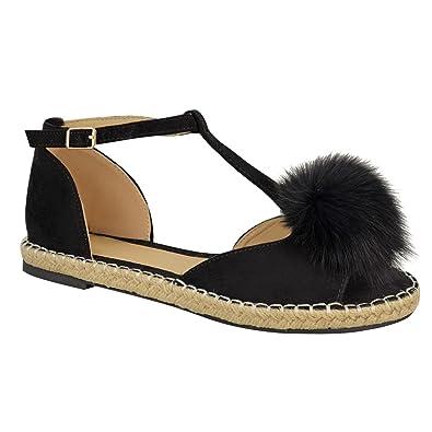 New Womens Ladies T Bar Fur Pom Pom Espadrilles Shoes Peeptoe Sandals Flats Size