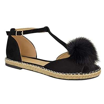 6b404df739f0 NEW WOMENS LADIES FUR POM POM T-BAR ESPADRILLES PEEPTOE FLAT SANDALS SHOES  SIZE