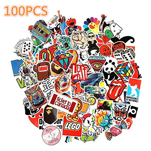 Laptop Stickers, Cool Sticker, Sun Protection and Waterproof Stickers for Luggage Car Bike Bicycle Random Music Film Vinyl Skateboard Guitar Travel Case (100pcs) (Cheap Stuffs Under 1 Dollar)