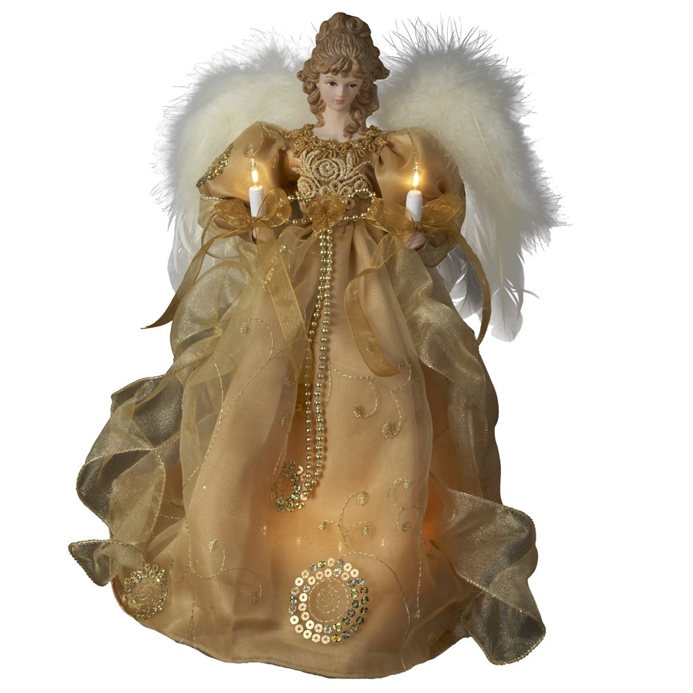Kurt Adler UL 10-Light Angel Christmas Treetop Figurine, 14-Inch, Gold