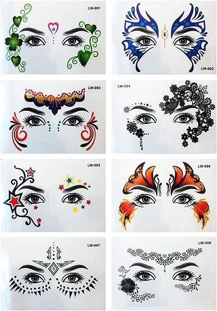 Lurrose 8 unids tatuaje temporal del ojo pegatinas de maquillaje ...