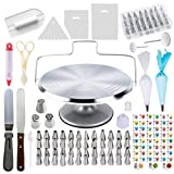 78 Piece Cake Decorating Supplies Kit | Aluminium Rotating Turntable Stand, Frosting & Piping Tips, Icing Spatula, Scraper, Smoother, Flower Nails, Cutter, Disposable Pastry Bags, Pro Baking Tools (Color: Aluminium)