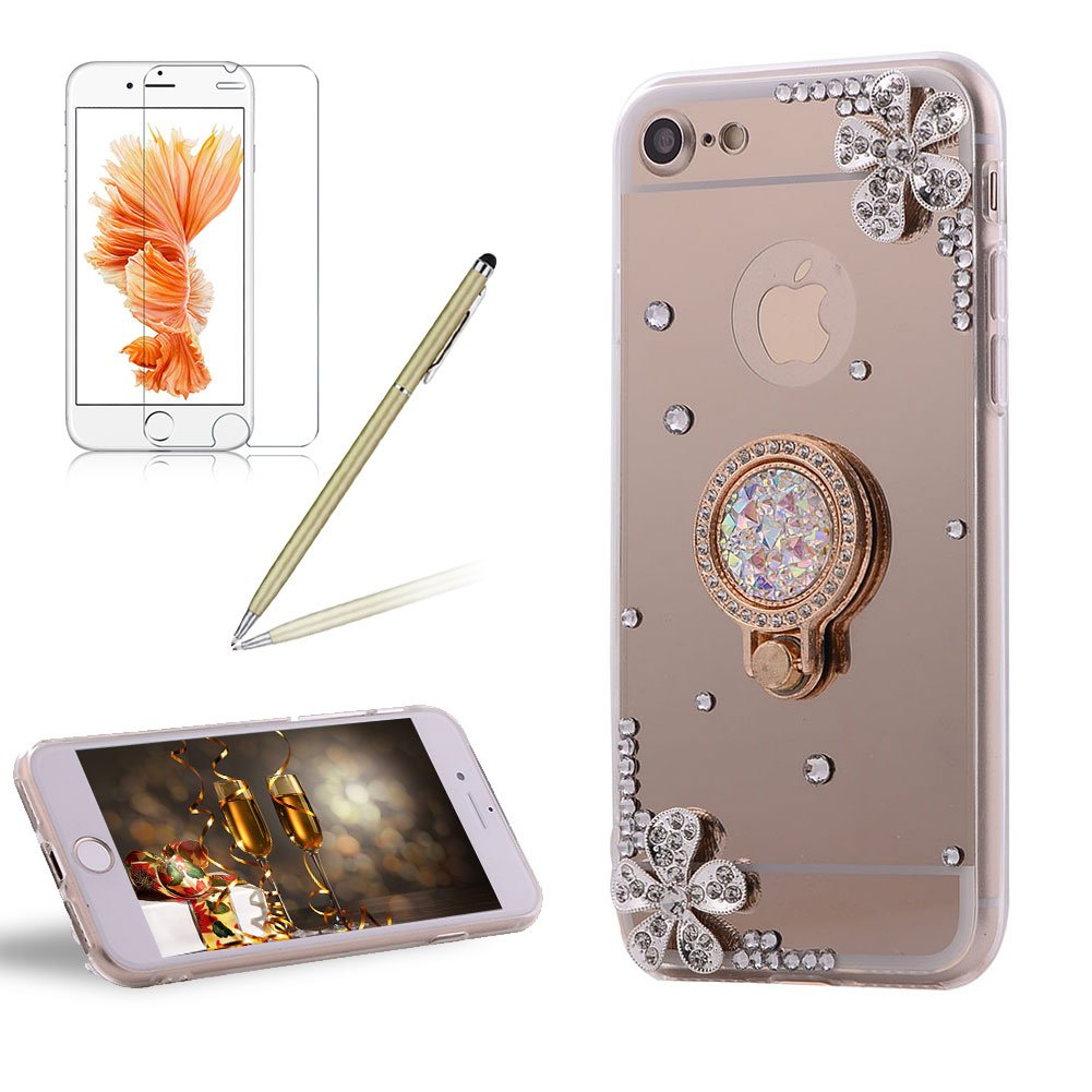 Girlyard For iPhone 6 PLUS / iPhone 6S PLUS Diamond Rhinestone Flower Soft Silicone Phone Case Cover Shiny Crystal Bling Glitter Mirror Makeup Protective Case Cover with Ring Stand Holder Rose Gold