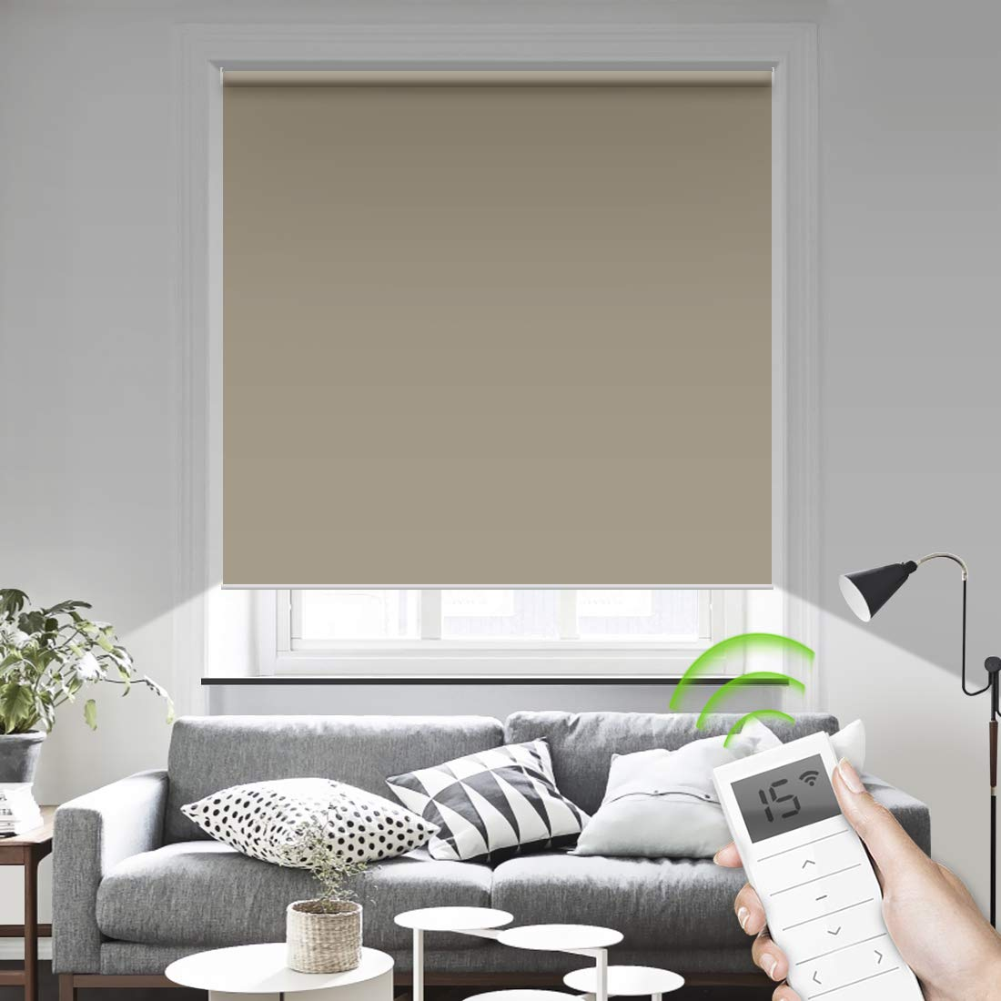 Motorized Smart Blinds Remote Control Window Roller Shade Wireless  Rechargeable -100% Blackout Window Shades for Office Restaurant Customized  Size