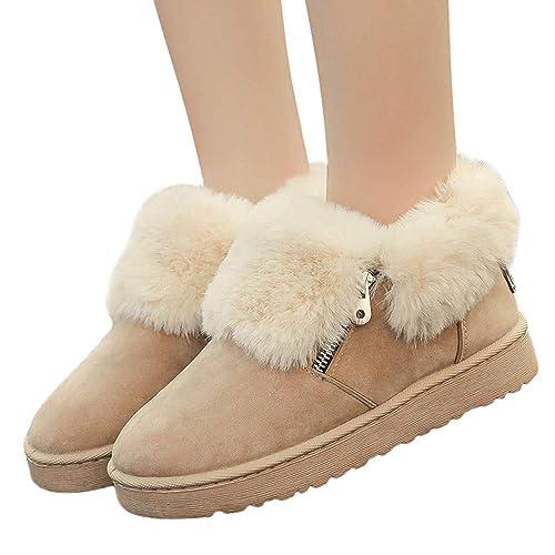 Weant Chaussures Femme Bottines Bottes de Neige d hiver de la Cheville  Femmes en Peluche d387dfeafe15