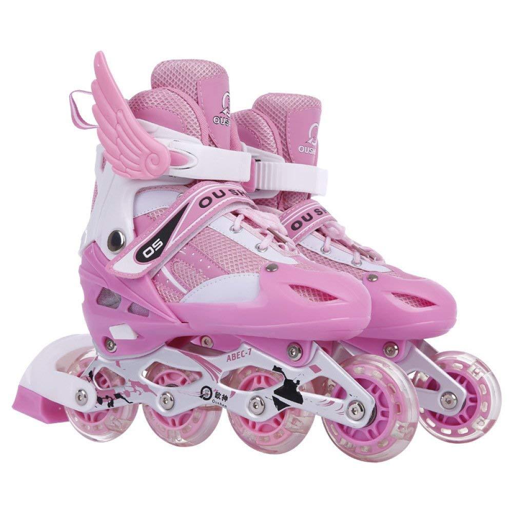 ZYH ローラースケートインラインスケート調節可能な子供用ローラースケート男性と女性に適したスケート靴8ラウンドフラッシュスケート靴 - 子供用ギフト Small ピンク B07R9XWM5R