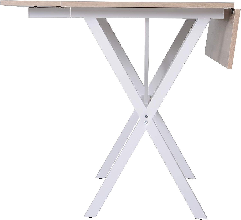 HOMCOM Mesa de Comedor Extensible con 3 Maneras de Uso Mesa Plegable para Sal/ón Cocina Rectangular de 109 cm