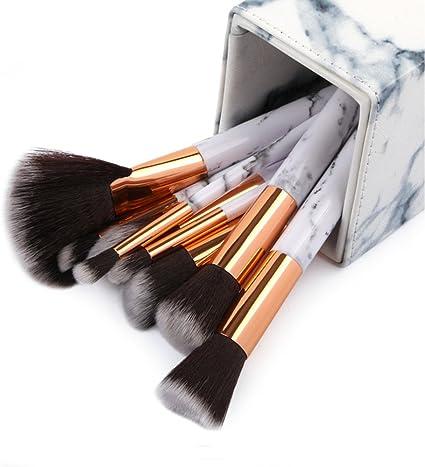 Juego de 10 brochas de maquillaje profesional para delineador de ojos con caja de impresión de mármol y estuche de fácil ajuste para todas las herramientas WATOPI: Amazon.es: Belleza
