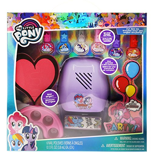 TownleyGirl Super Fun Nail Set with 6 Nail Polishes, Nail Dryer and Nail Buffers, 12 CT (My Little Pony) -