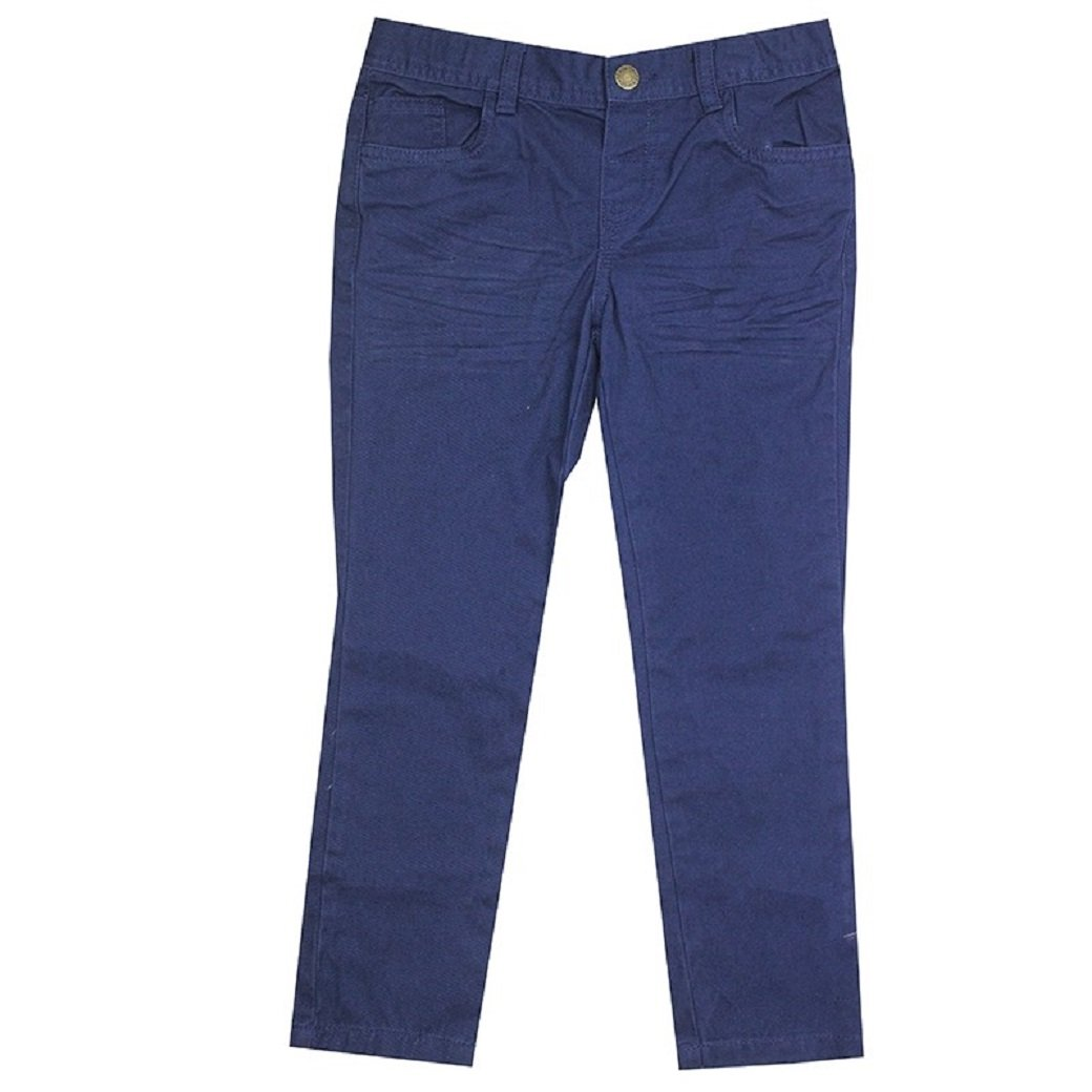 Boys Navy Blue Denim Crinkle Front Adjustable Waist Trouser Kids Jeans