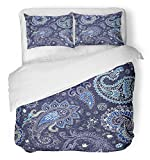 Emvency Bedsure Duvet Cover Set Closure Printed Indonesian Colorful Paisley Flower Patchwork Arabian Exotic Ethnic Turkish Able Decorative Breathable Bedding Set With 2 Pillow Shams Twin Size