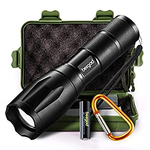 Tactical Led Flashlight, beegod Handheld Bright Led Torch Flashlights Rechargeable (Black)