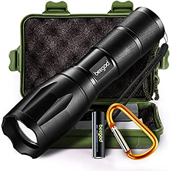Tactical Led Flashlight, beegod Handheld Bright Led Torch Flashlights Rechargeable (Black)