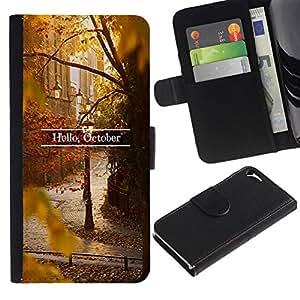 All Phone Most Case / Oferta Especial Cáscara Funda de cuero Monedero Cubierta de proteccion Caso / Wallet Case for Apple Iphone 5 / 5S // Sign Leaves Fall Autumn Nature
