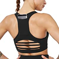 MANON ROSA Sports Bra Women Workout Crop Top Yoga Activewear with Pocket Black X-Large