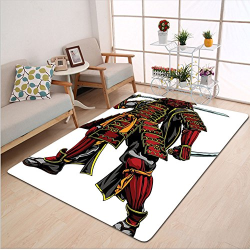 Deluxe Apple Dress Costumes (Kisscase Custom carpet Japanese Decor Illustration Of Oriental Martial Character With Ethnic Dress Standing And Holding Sword Decor Red Black)