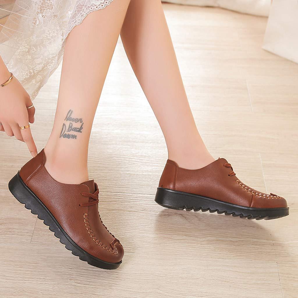 Limsea Lady/'s Soft Bottom Single Shoes Leisure Middle-Aged Lace-Up Flat Round-Toe