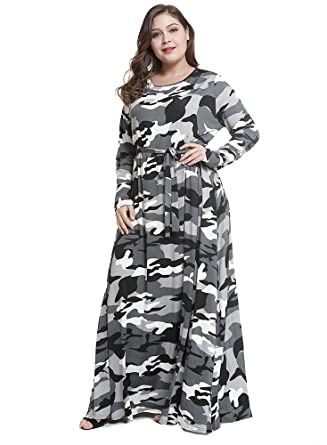 WANEE Womens Plus Size Printed Camouflage Long Sleeve Maxi Dress - Grey -