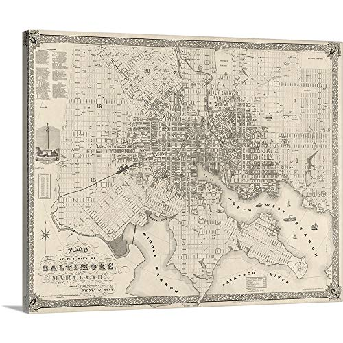 Vintage Map Plan of The City of Baltimore, Maryland Canvas Wall Art Print, ()