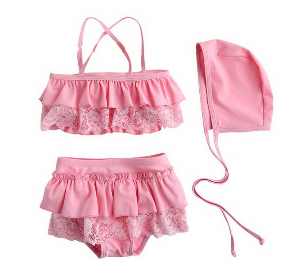 Cute Babe Girl Lace Swimsuit, Two Piece, Pink, 5-6 Years Old, 7T PANDA SUPERSTORE PS-SPO2420250011-EMILY00837