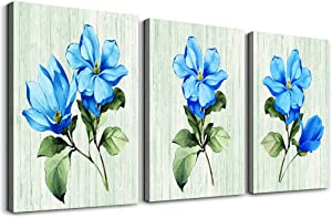 TTHWALLART Blue flower 3 Pieces framed Canvas Wall Art for living room kitchen Wall Decor for bedroom bathroom decorations wall painting Green view Posters pictures Canvas Prints artwork office