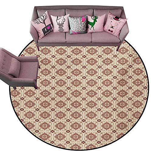 - Home Bedroom Floor Mats Vintage,Victorian Inspirations Pattern Ancient Flowers Curves and Spirals,Beige Brown Pale Orange Diameter 66