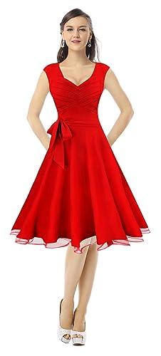 Killreal Women's Elegant Sleeveless Vintage 1950s V-Neck Cocktail Swing Dress