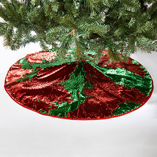 Christmas Tree Skirt Magic Reversible Sequin Holiday Decoration - Red/Green (Skirt Tree Green)