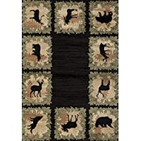 United Weavers Woodside Woodsman Border Black Runner Rug 111 X 72