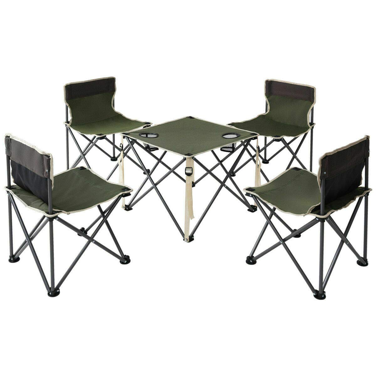 ANA Store Enjoy Barbecue Party Curl Stand Iron Stell Frame Green Oxford Portable Folding Table Chairs Set Inside Outside Camp Beach Picnic with Carrying Bag by ANA Store (Image #4)