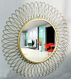 Furnish Craft Beautiful Sculpture Modern Designed Sunflower Iron Decorative Wall Mirror for Living Room (29 inches) Upgraded Size