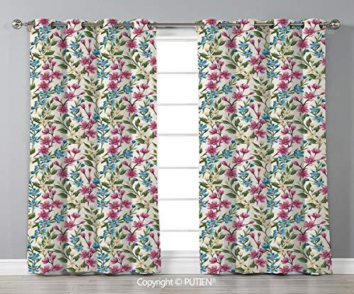 (Grommet Blackout Window Curtains Drapes [ Flower Decor,Shabby Chic Floral Buds Leaves Ivy Like Garden Decor Design Art Print,Pink and Blue ] for Living Room Bedroom Dorm Room Classroom Kitchen Cafe)
