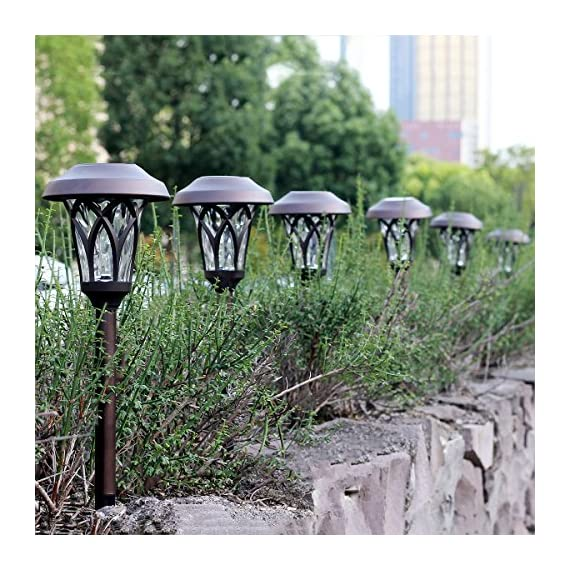 GIGALUMI Solar Pathway Lights Outdoor, 6 Pcs Super Bright High Lumen Solar Powered LED Garden Lights for Lawn, Patio, Yard. - High LUMENS: Much brighter than other cheap pathway lights. Each solar-powered path light has a super-bright warm white LED lights for clear, brilliant illumination BRONZE FINISH METAL: Looks noble and elegant, adds a special flair to your lawn, garden, yard or patio. TIER RIPPLE GLASS LENS: Glass len has excellent clarity for light compare to plastic, it creates vivid and attractive pattern. - patio, outdoor-lights, outdoor-decor - 611dskKH0DL. SS570  -