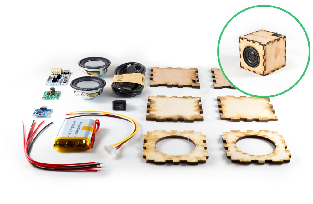 DIY Bluetooth Speaker Cube Kit | Build Your Own Portable Wood Case Bluetooth Speakers | Perfect for STEM Curriculum