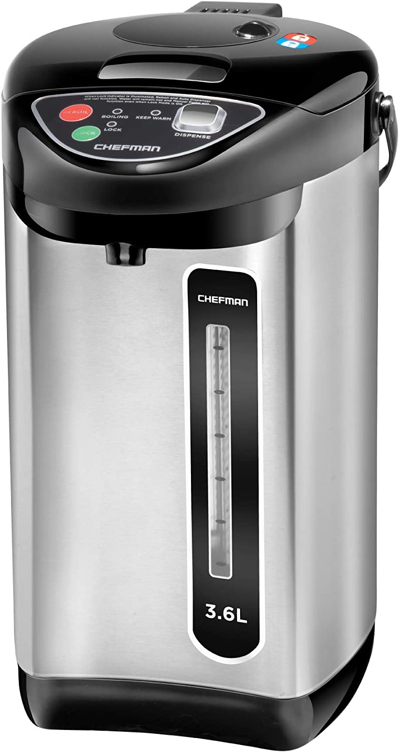 Chefman Instant Electric Hot Pot Coffee Urn w/Auto & Manual Dispense Buttons, Safety Lock, Easy Water View Window, Auto-Shutoff & Boil Dry Protection, Stainless Steel, 3.6L/3.8 qt/20+ Cups (Renewed)