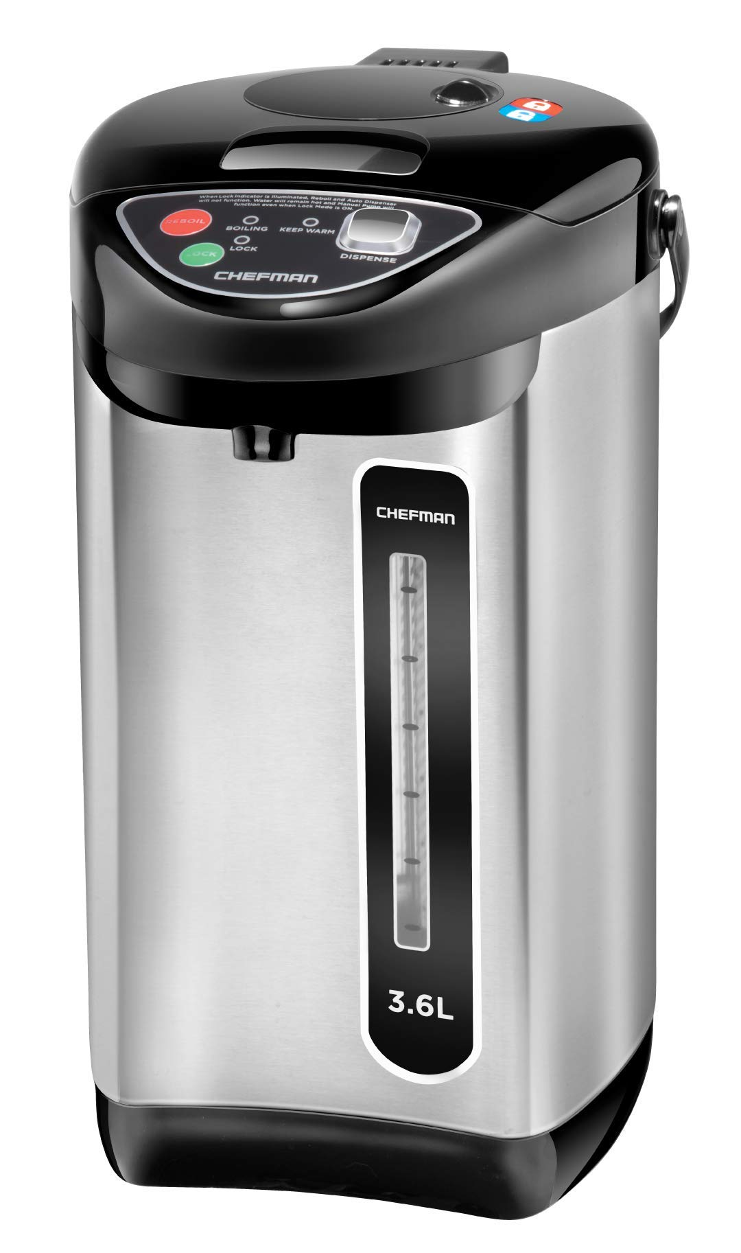 Chefman Instant Electric Hot Pot Coffee Urn w/Auto & Manual Dispense Buttons, Safety Lock, Easy Water View Window, Auto-Shutoff & Boil Dry Protection, Stainless Steel, 3.6L/3.8 qt/20+ Cups (Renewed) by Chefman
