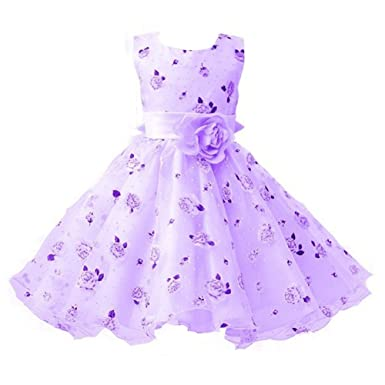 498757f5 Berngi Girls Cotton Sleeveless Princess Dress with Flower for Children  Clothes Kids Wedding Party Birthday Dresses: Amazon.co.uk: Clothing
