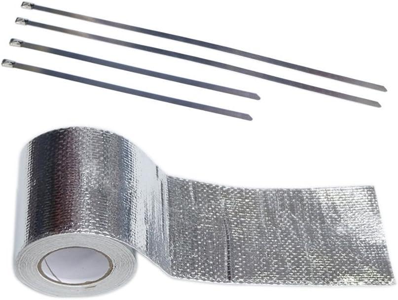 SPSLD Cinta adhesiva de alta temperatura con aislamiento térmico reflectante para tubo de escape, rollo de aluminio, cinta adhesiva para decoración de coche: Amazon.es: Coche y moto