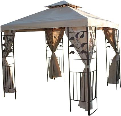 Gazebo cuadrado para jardín de 2.5 m - Diseño de hoja y 4 cortinas de poliéster - Con robusta estructura de acero - PRECIO REBAJADO: Amazon.es: Hogar