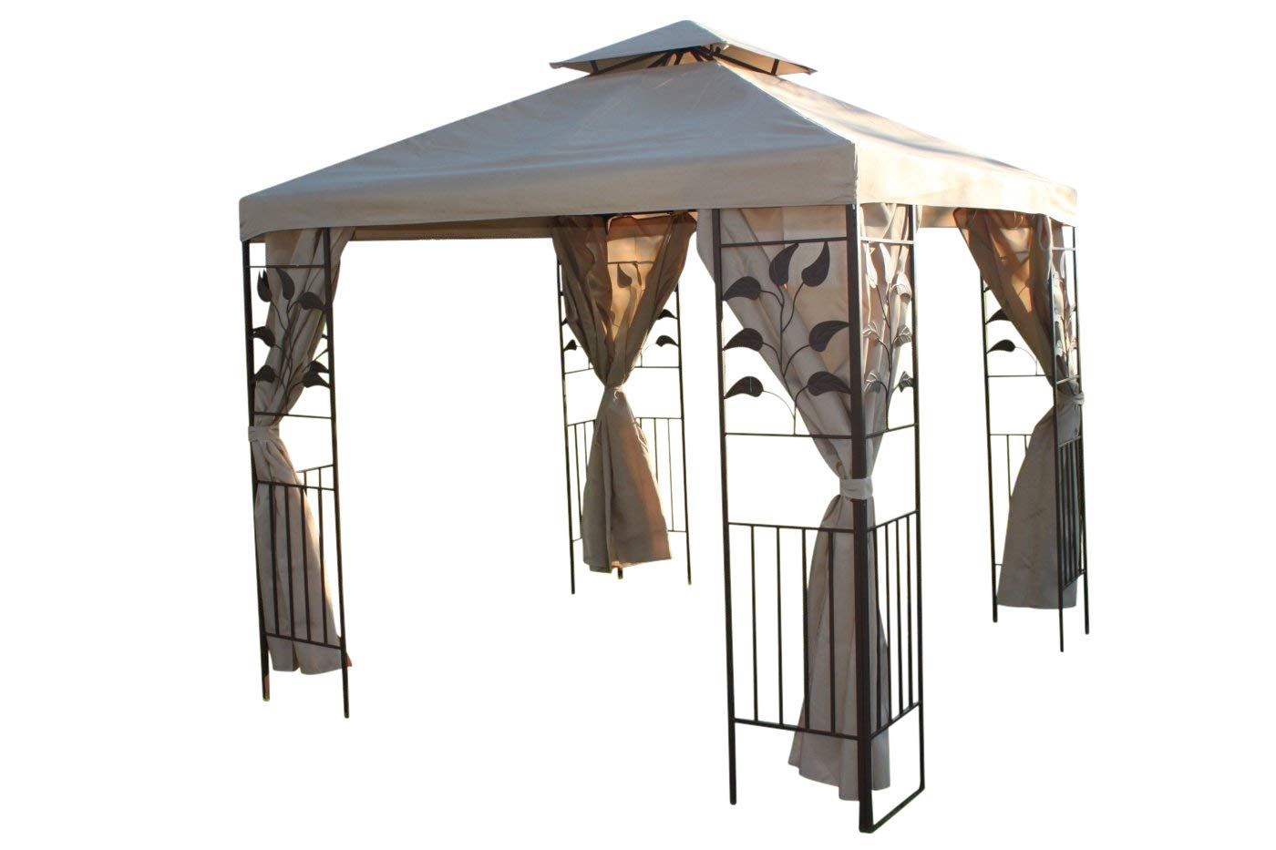 Leaf Design 2.5M Square Garden Gazebo-Beige Cover & 4 Polyester Curtains With Strong Steel Frame-REDUCED Olive Grove