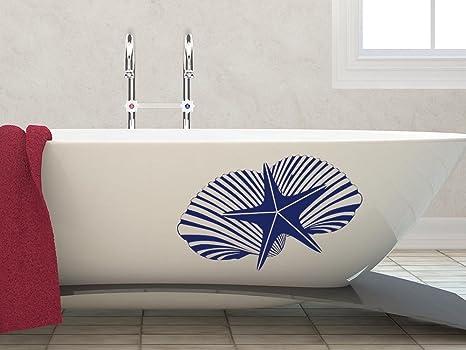 Adesivo da parete per vasca bagno piastrelle tatuaggio e conchiglie