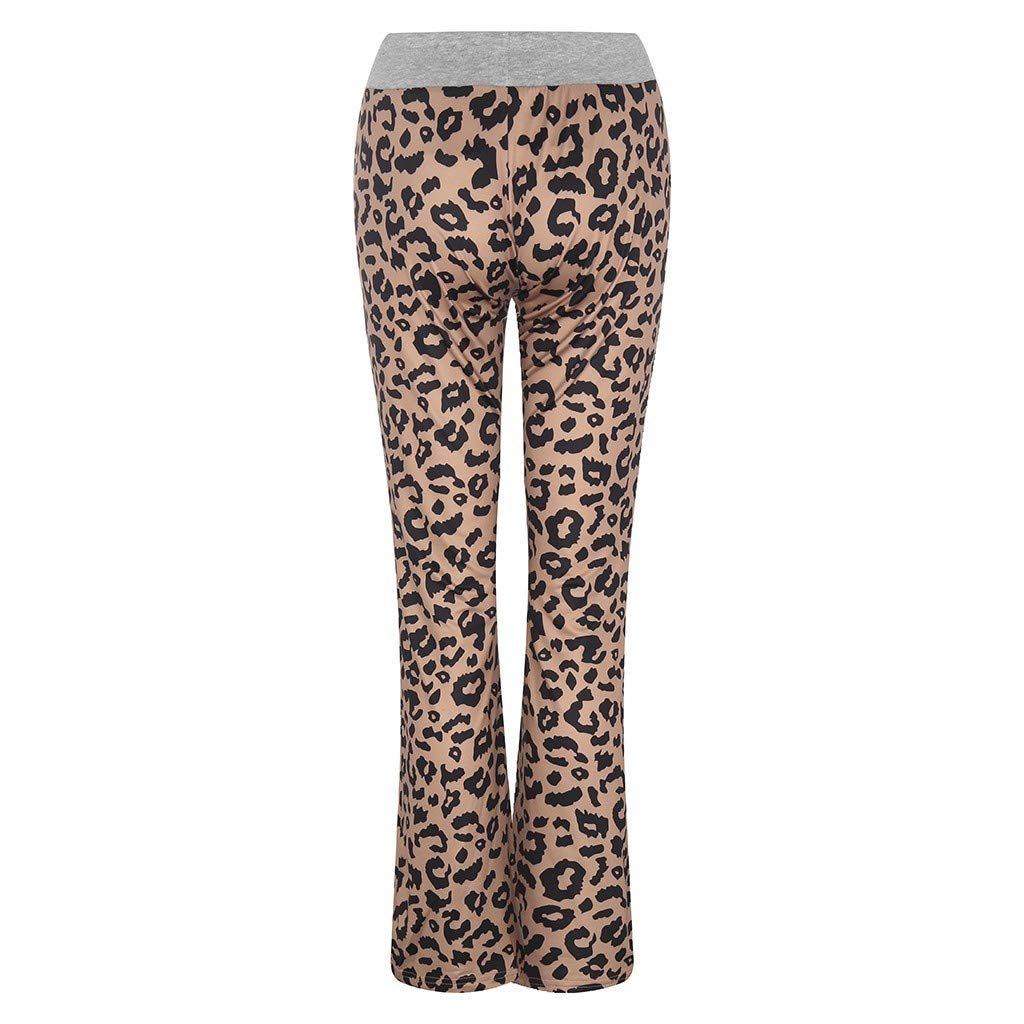 SUGEER Women\'s Pajama Lounge Pants Leopard Printed Comfy Casual Stretch Palazzo Drawstring Pj Bottoms Pants Wide Leg