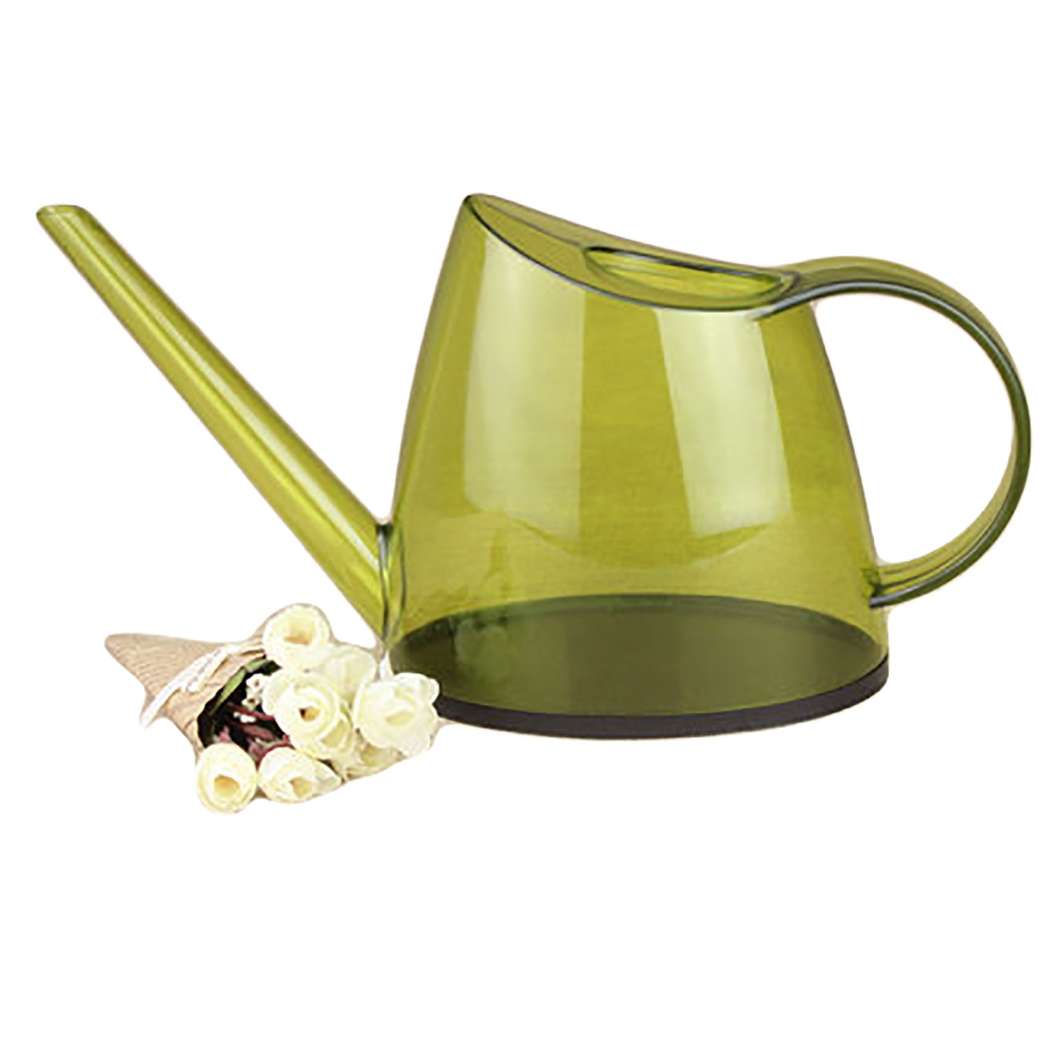 Plastic Outdoor Long Spout Watering Can, 1.4-Liter, Light Green